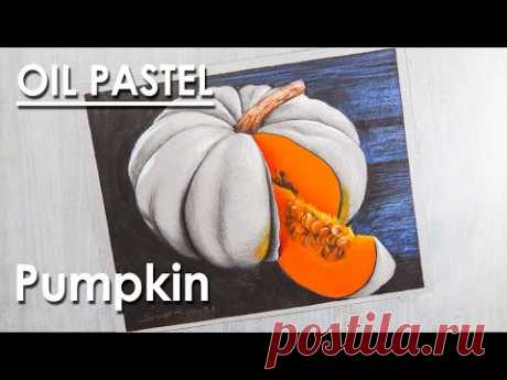 Oil Pastel Still Life Drawing : Pumpkin   step by steps to follow