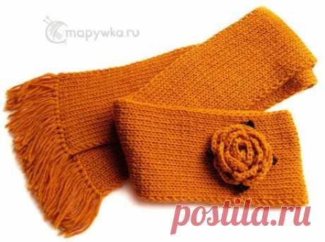 Шарф длинный вязаный оранжевый - купить | Одежда ручной работы | HANDMADE интернет-магазин