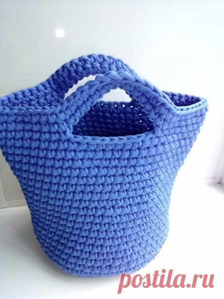 Сумка шоппер из трикотажной пряжи из категории Мои работы – Вязаные идеи, идеи для вязания