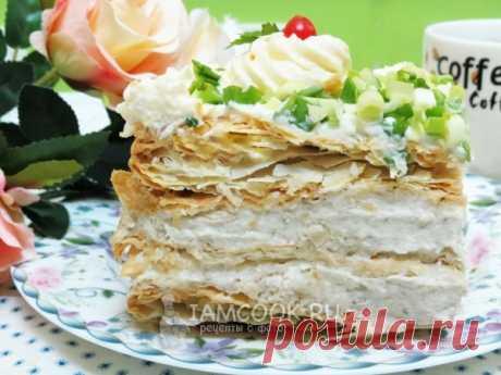 Закусочный торт «Наполеон» из готовых коржей — рецепт с фото Если вы хотите удивить своих гостей, приготовьте закусочный торт