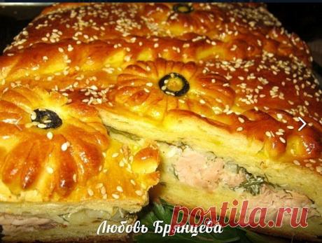 Праздничный пирог с лососем по-русски Украшение праздничного стола!