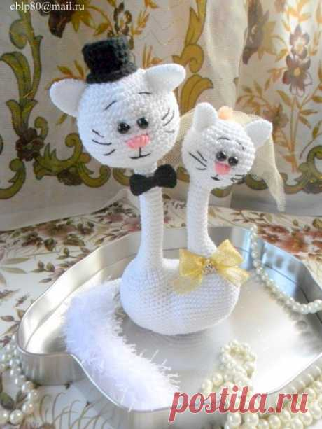 Свадебная Котопарочка Крючком. – Амигурумик