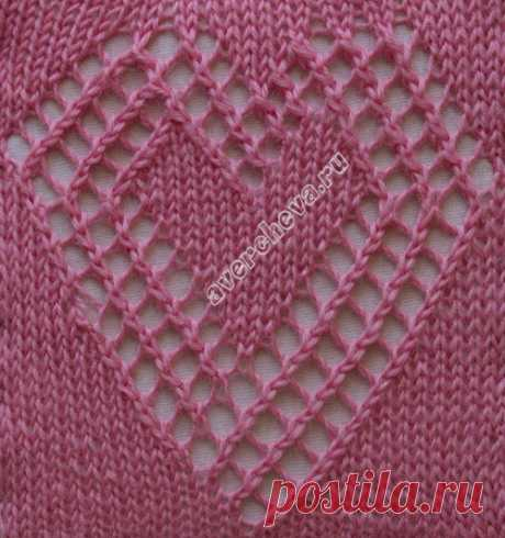 ажурное сердечко ширина 25 петель | каталог вязаных спицами узоров