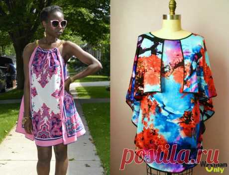 We sew an easy summer dress from scarfs for half an hour