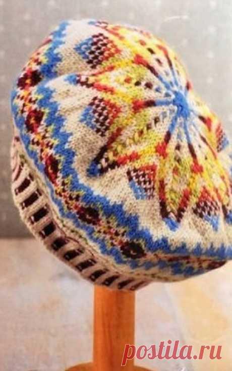 Разноцветный берет. Схема. Берет связан в жаккардовой технике спицами. Яркие цвета пряжи украшают этот берет. Схема.