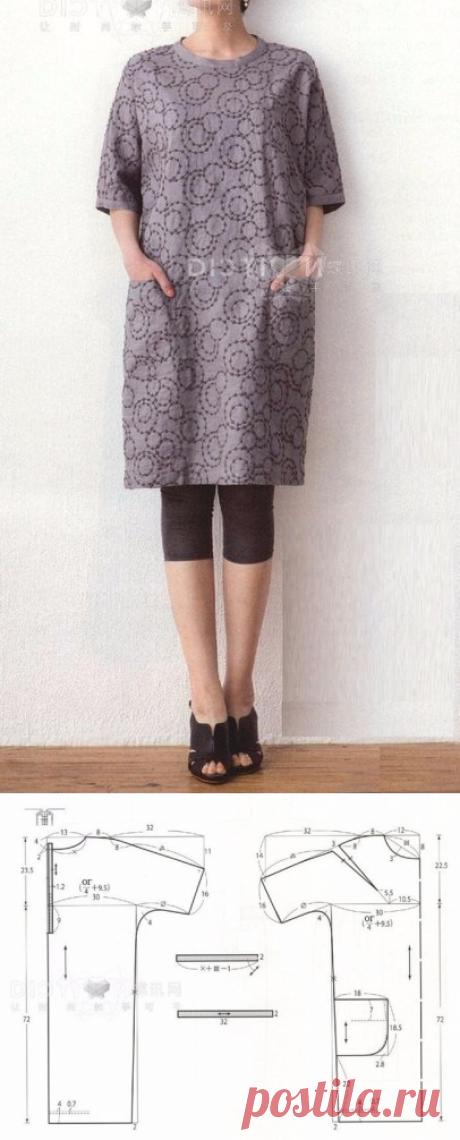 347810be593 Выкройка-шаблон платья-туники с цельнокроеными рукавами и застежкой на  спинке (Шитье и