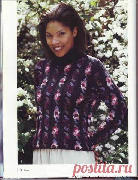 Пуловер с цветочным жаккардом