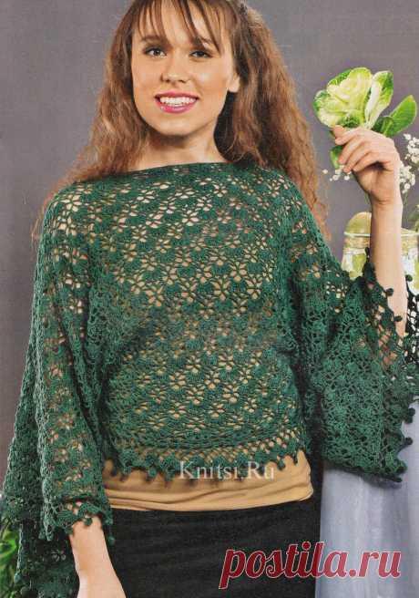 Ажурный пуловер с широкими рукавами.