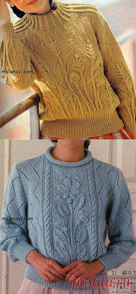 Вязаные пуловеры с цветами | Вяжем с Ланой