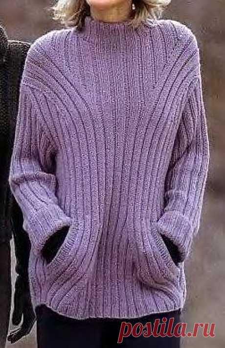 Сиреневый пуловер.