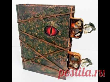 ALCHEMY THEMED ALTERED DRAGON BOOK with EGG SHELL TEXTURE and HIDDEN DRAWERS - YouTube