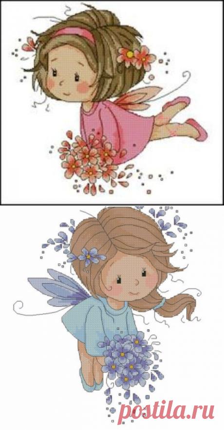 """""""Феечка"""" или """"Розовая фея"""" (вышивка со схемой)"""