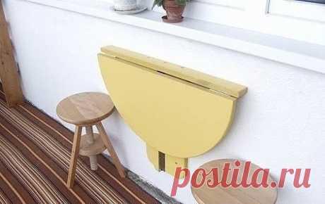 А как вам вот такой складной мини-столик? Отличный вариант для балкона или малогабаритной кухни.