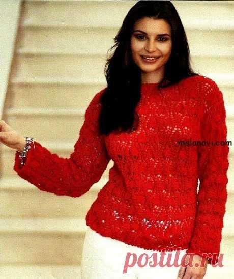 Ажурный пуловер спицами с узором ананасы - Вяжем с Лана Ви Ажурный пуловер спицами с узором ананасы — классическая модель пуловера, но очень выразительная за счет яркого красного цвета.Возможно, цвет вы захотите сменить, но узор «ананасы» спицами смотрится не менее эффективно, чем его аналог, выполненный крючком.Кроме того, вЛЕТНЕМ ТОПЕ, опубликованномранее,есть другойузор «ананасы» тоже спицами.Приятного всем творчества! Вязание спицами ажурного пуловера с узором ...