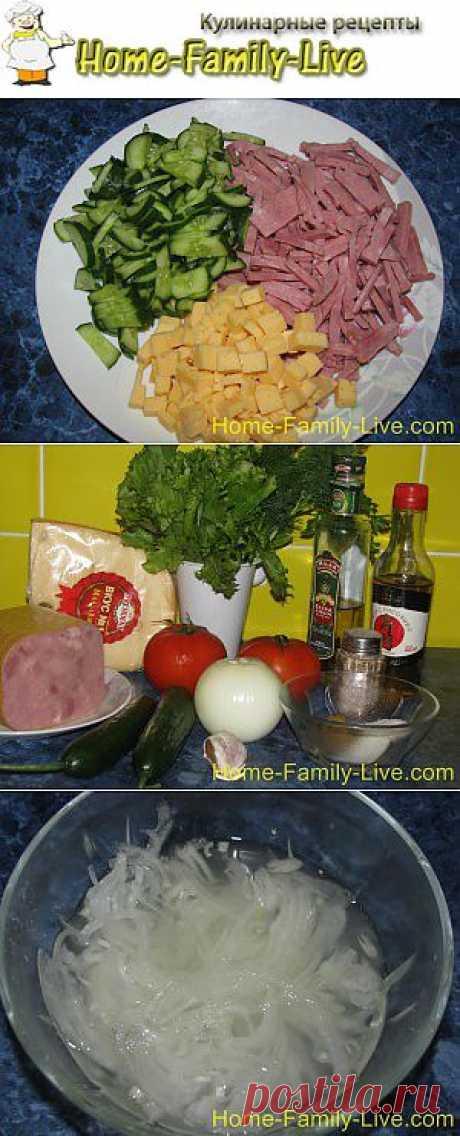 Салат с огурцами , ветчиной и помидорами - рецепт с фото | Кулинарные рецепты