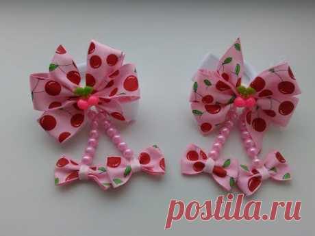 Cherry bows from repp tapes MK Kanzasha \/ Bows Cherries from REP ribbons Kanzashi MK