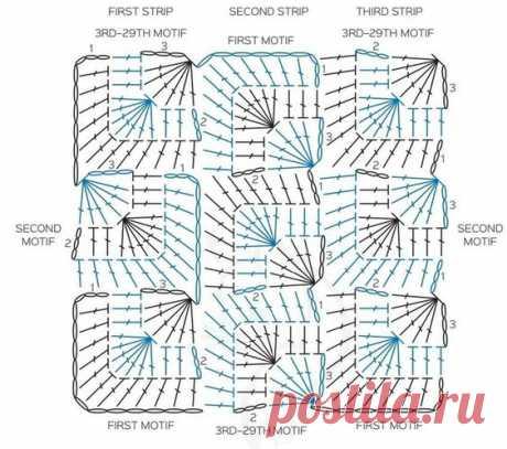 Интересный квадратный мотив крючком из категории Интересные идеи – Вязаные идеи, идеи для вязания