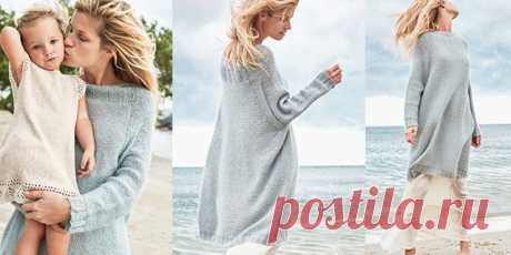 Платье-свитер оверсайз спицами – 4 схемы с описанием, видео