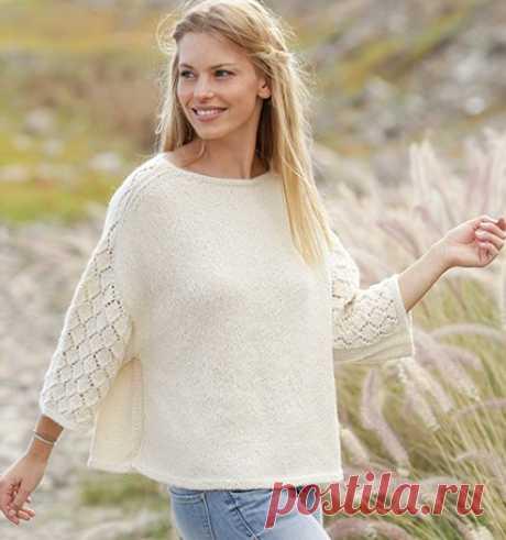 Белый пуловер оверсайз - Связано всё....! Красивый пуловер с ажурными рукавами свободным силуэтом — для любого возраста и погоды. Автор переводаНаталья Санникова. Размеры: S — M — L — XL — XXL — XXXL Вам потребутся:пряжа DROPS PUNA от Garnstudio 350-400-450-450-500-550 грамм, цвет № 01, белый; чулочные и круговые спицы (40 + 60 или 80 см) № 4мм; чулочные и круговые спицы № 3 мм — для планок платочной вязкой. Плотность вязания: 21 п. х 28 р. лицевой гладью = 10 см х 10 ...