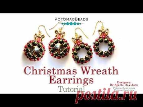 Christmas Wreath Earrings - DIY Jewelry Making Tutorial by PotomacBeads