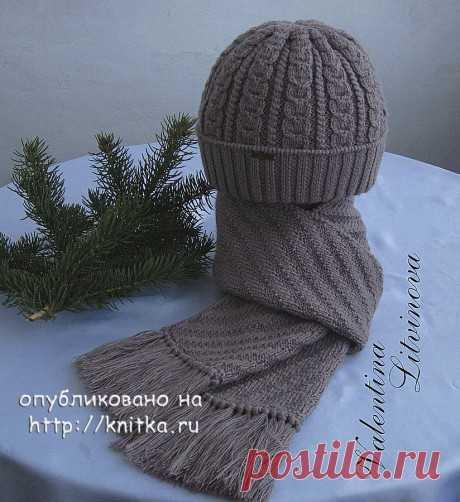 Мужская шапка и шарф спицами. Работы Валентины Литвиновой, Вязание для мужчин