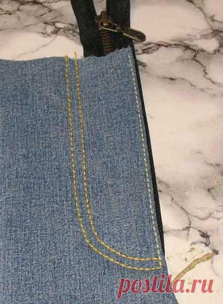 Технология оформления гульфика с молнией на джинсах