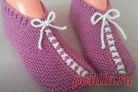 Интересная модель следков (ботильонов) со шнуровкой, вяжутся легко и просто, без заморочек | Вязание и Рукоделие | Яндекс Дзен