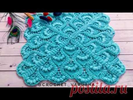 Волшебный квадрат крючком//Плед крючком//Crochet shawl//Узор для бактуса//