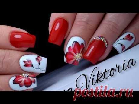 Красивый и простой дизайн ногтей красный цветок. ТОП удивителные дизайны ногтей