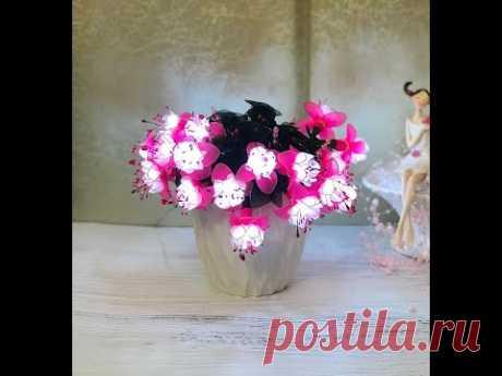 "#светильникиизкапрона МК светильник ""Фуксия"" Часть 2/DIY nylon flower Fuchsia with led lamps"
