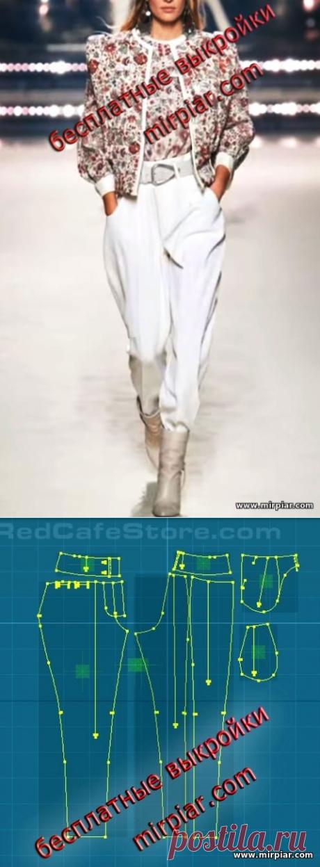 Женские брюки с эффектом галифе и широким поясом. Скачать готовые бесплатные выкройки с сайта MirPiar.com