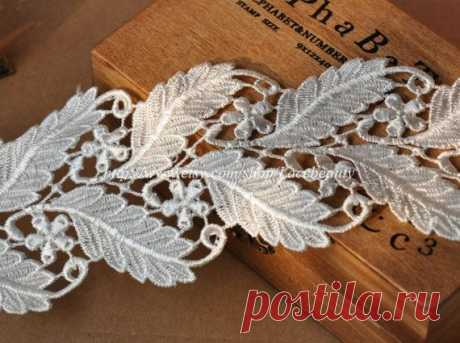 1 pair Venice Lace Appliques Ivory Floral Embroidered Patches For Wedding Supplies Bridal Hair Flower Headpiece - MommyGrid.com