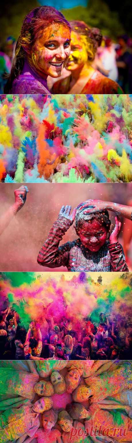 Холи-весенний фестиваль цвета, красок и радости | В мире интересного