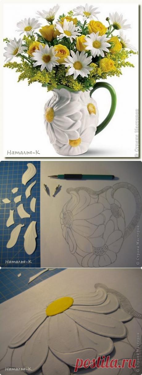 Ромашковая ваза. Бумагопластика