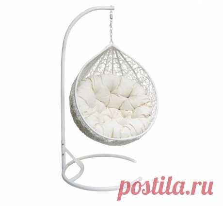 """Белое подвесное кресло """"Мери"""" для квартиры и сада"""