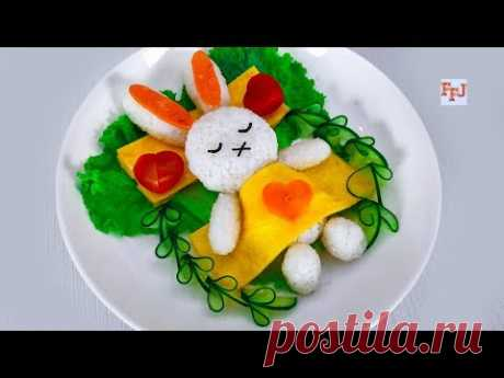 DIY Sleeping Bunny Rice with Omelet Blanket for Breakfast Preparation