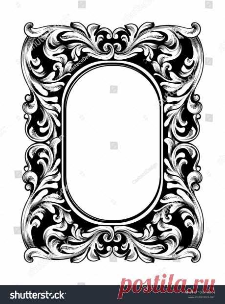 Стоковая векторная графика «Baroque Mirror Frame Vector Imperial Decor» (без лицензионных платежей), 1060416518: Shutterstock