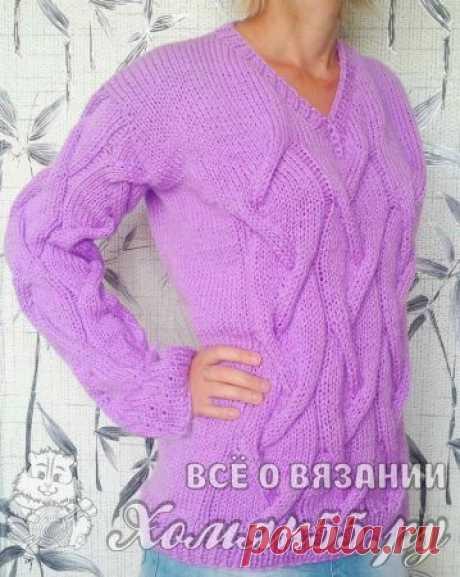 Сиреневый свитер спицами