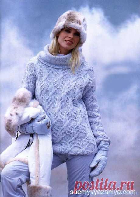 связать свитер женский спицами схема с косами