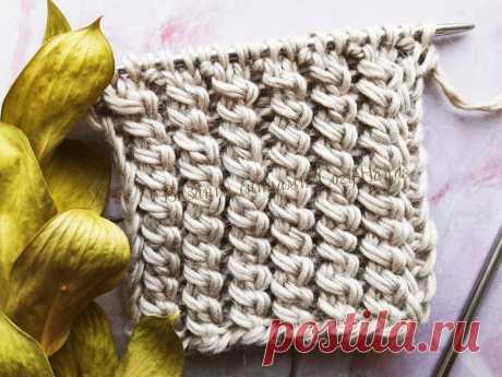 Простой узор для шапки из объемной пряжи | Вязание спицами CozyHands | Яндекс Дзен