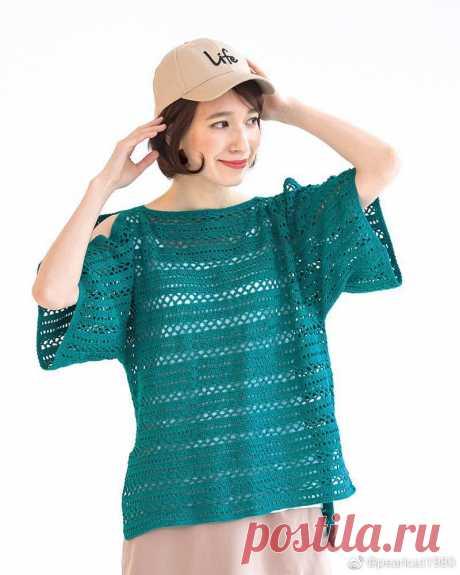 Женская вязаная крючком летняя полая блузка из свежего льна - Урок вязания - Жизнь спицами