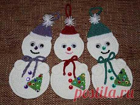 Делаем забавных вязаных снеговичков на старых CD - Ярмарка Мастеров - ручная работа, handmade