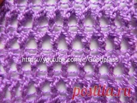 Интересный ажурный узор Вязание спицами. Knitting(Hobby). - YouTube