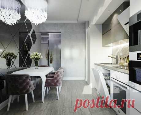 Дизайн интерьера: увеличение кухни визуально | Натяжные потолки в Архангельске, Северодвинске | Яндекс Дзен