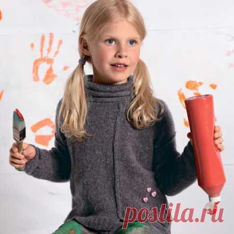 Котейкины хотелки;): Модный пуловер для девочки с интересной деталью - швы наружу.