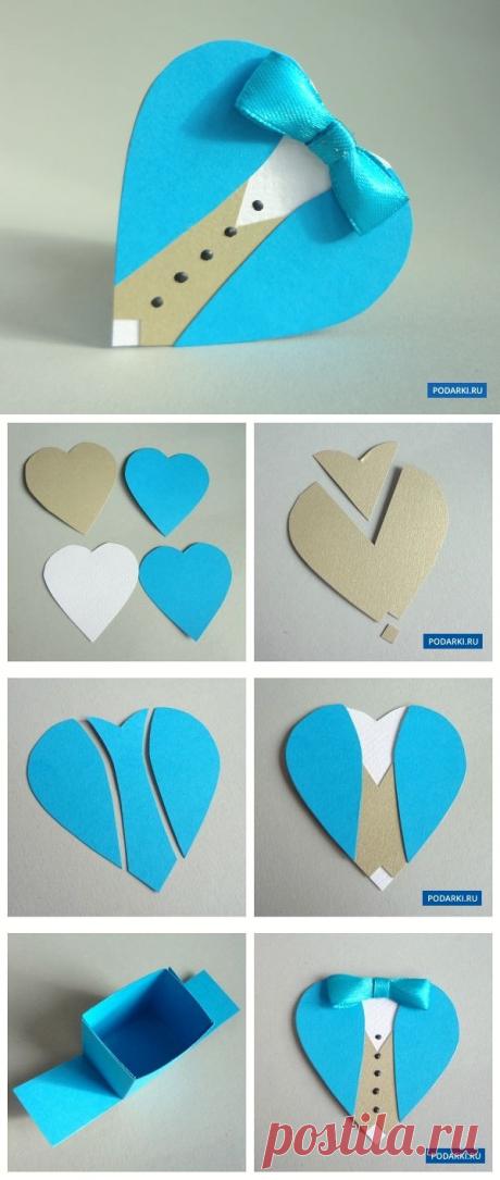 Коробочка-сердечко в виде мужского костюма — Сделай сам, идеи для творчества - DIY Ideas
