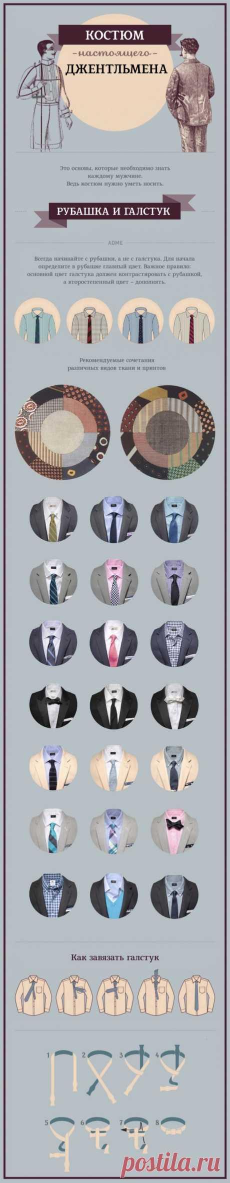 Костюм настоящего джентльмена. Рубашка и галстук. Как завязать галстук
