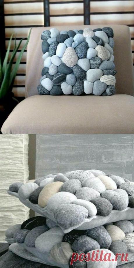 Имитаций морской крупной гальки на мягкой подушке: идеи для вдохновения