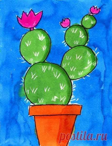 Рисуем с детьми кактус опунцию