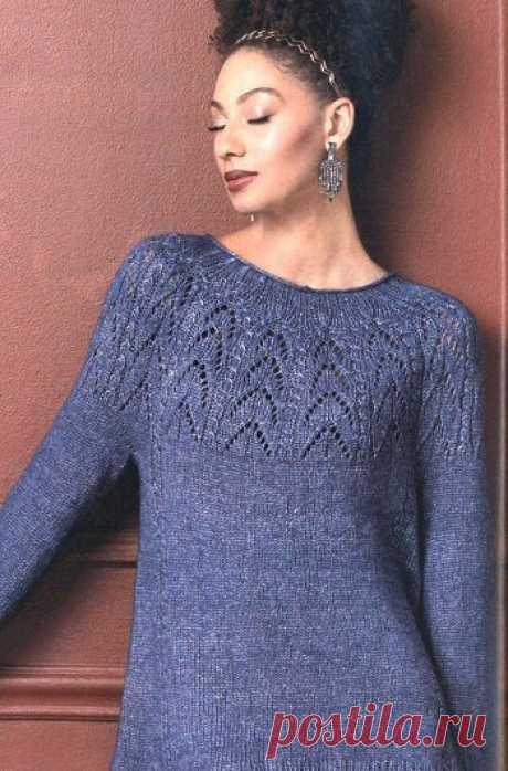 Пуловер с ажурной кокеткой от Amy Gunderson